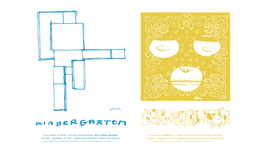 Kindergarten Typographic Posters, Delta and Os Gemeos|
