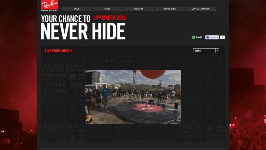 Ray-Ban.com, Never Hide Events Feature|